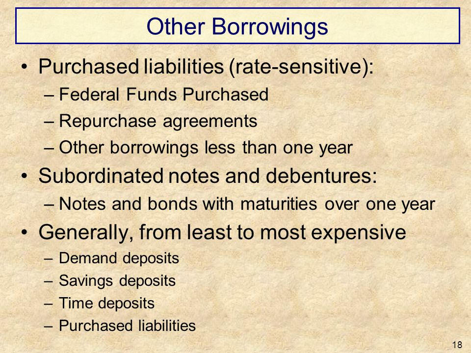 Other Borrowings Purchased liabilities (rate-sensitive):