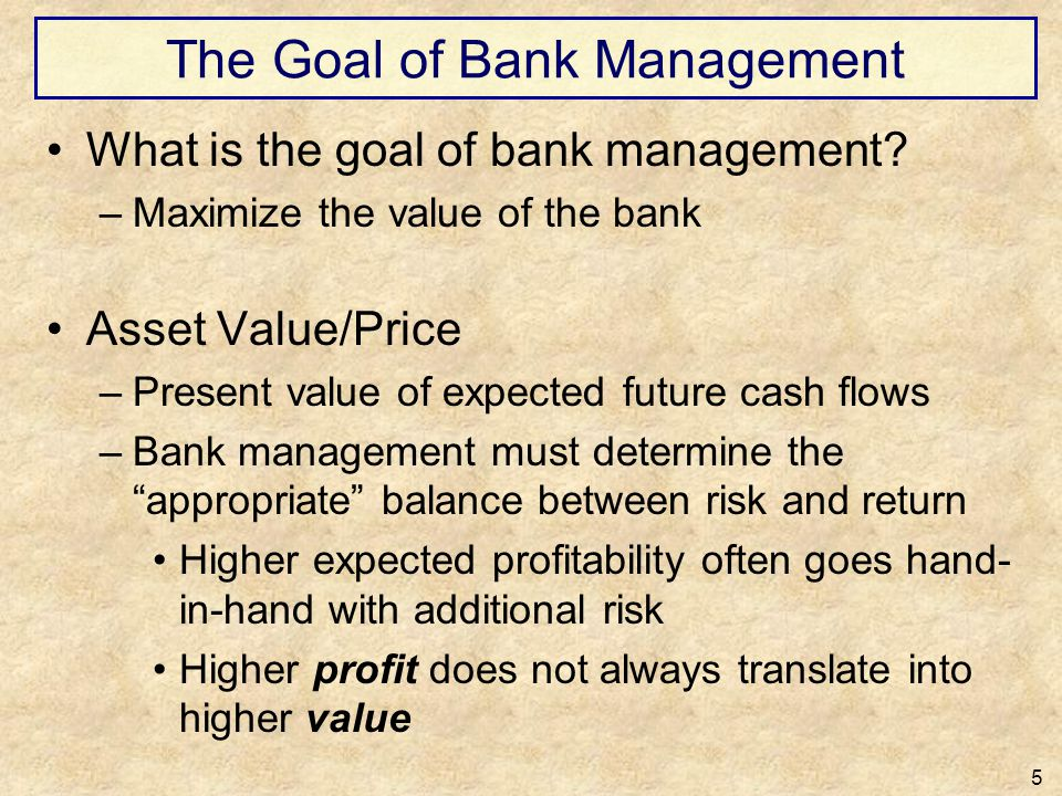 The Goal of Bank Management