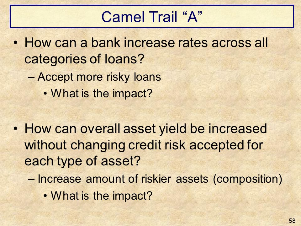 Camel Trail A How can a bank increase rates across all categories of loans Accept more risky loans.