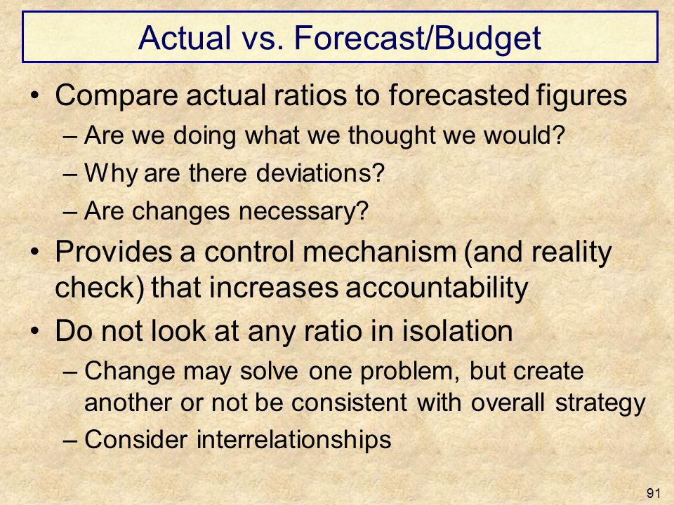 Actual vs. Forecast/Budget