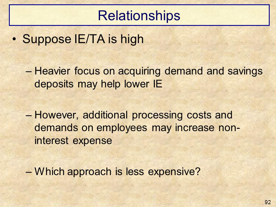 Relationships Suppose IE/TA is high