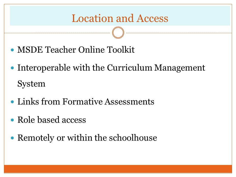 Location and Access MSDE Teacher Online Toolkit