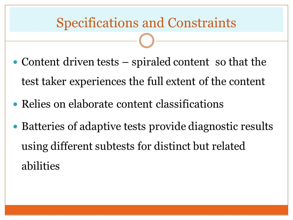 Specifications and Constraints