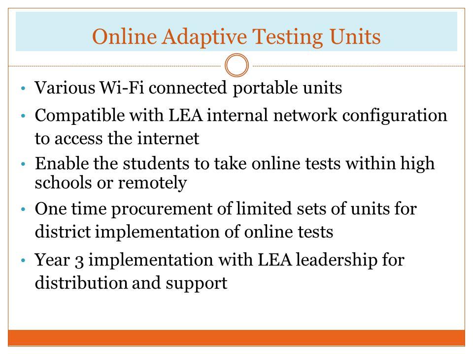 Online Adaptive Testing Units