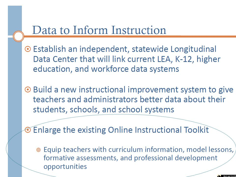 The Online Instructional Toolkit is provided to equip teachers with curriculum, model lessons, formative assessment practices, item bank and computer adaptive systems, and professional development opportunities