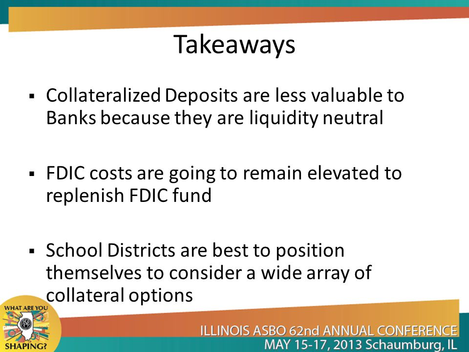 Takeaways Collateralized Deposits are less valuable to Banks because they are liquidity neutral.