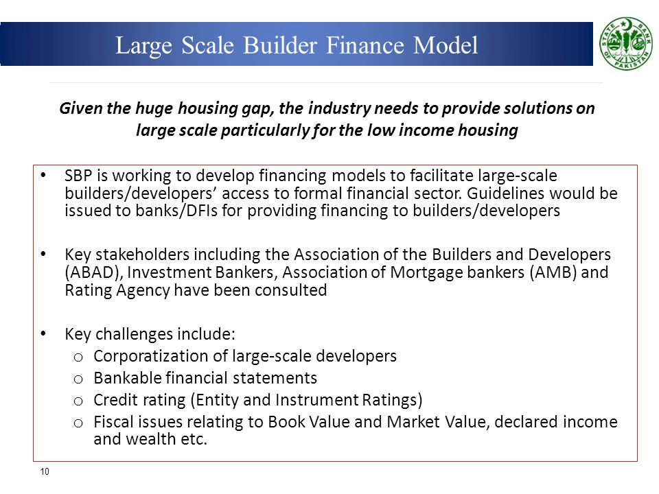 Large Scale Builder Finance Model