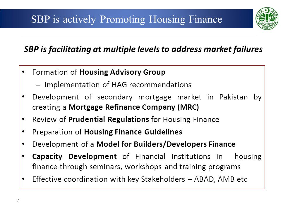 SBP is actively Promoting Housing Finance