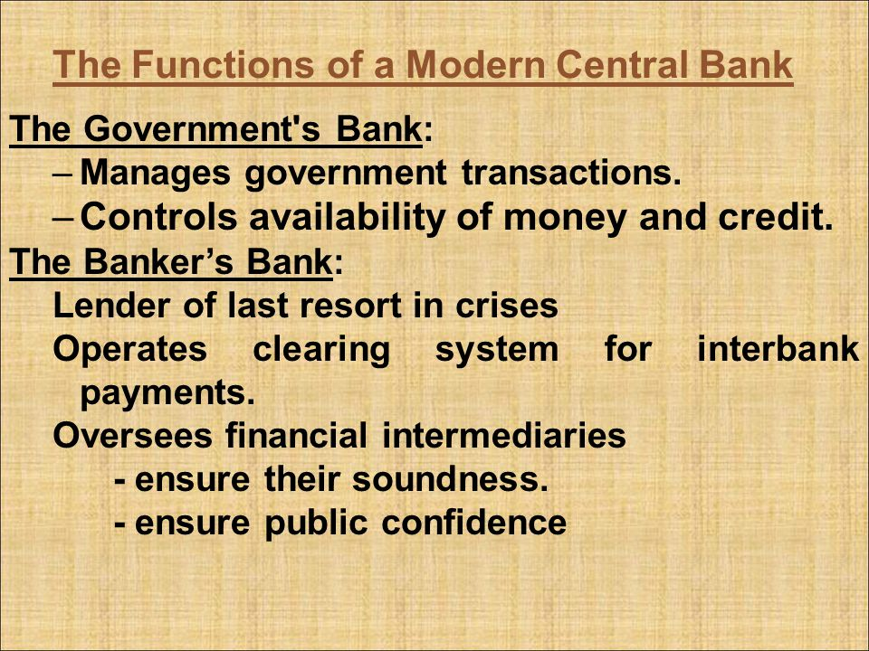 The Functions of a Modern Central Bank