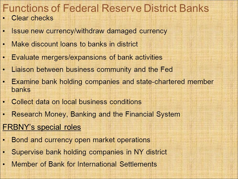 Functions of Federal Reserve District Banks