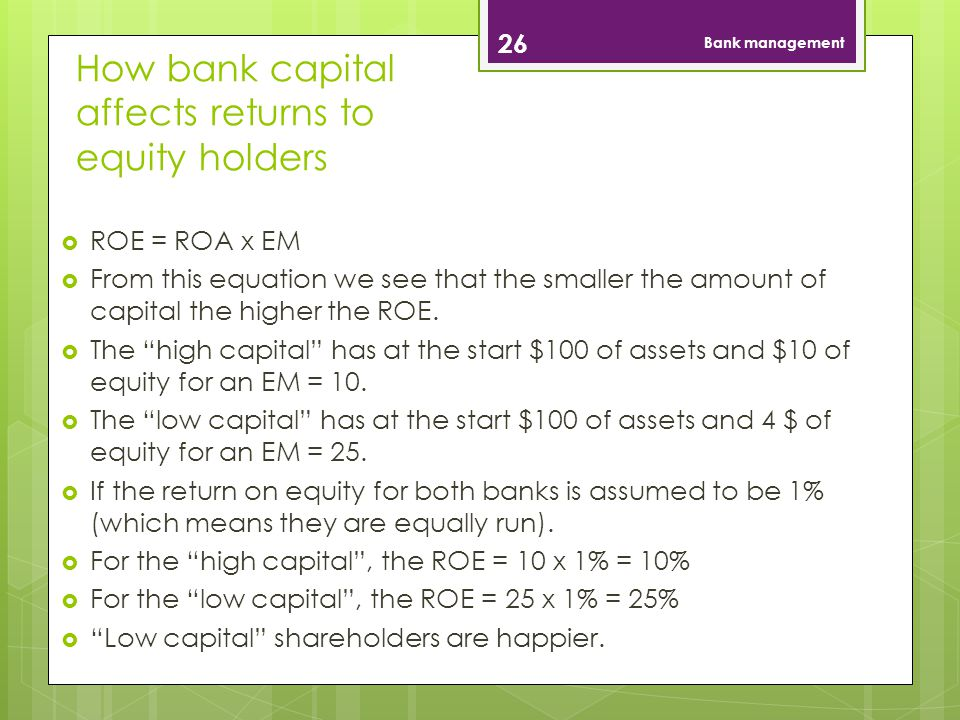 How bank capital affects returns to equity holders