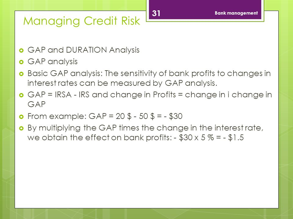 Managing Credit Risk GAP and DURATION Analysis GAP analysis