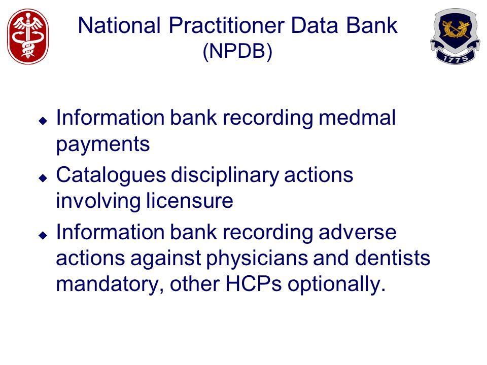 National Practitioner Data Bank (NPDB)