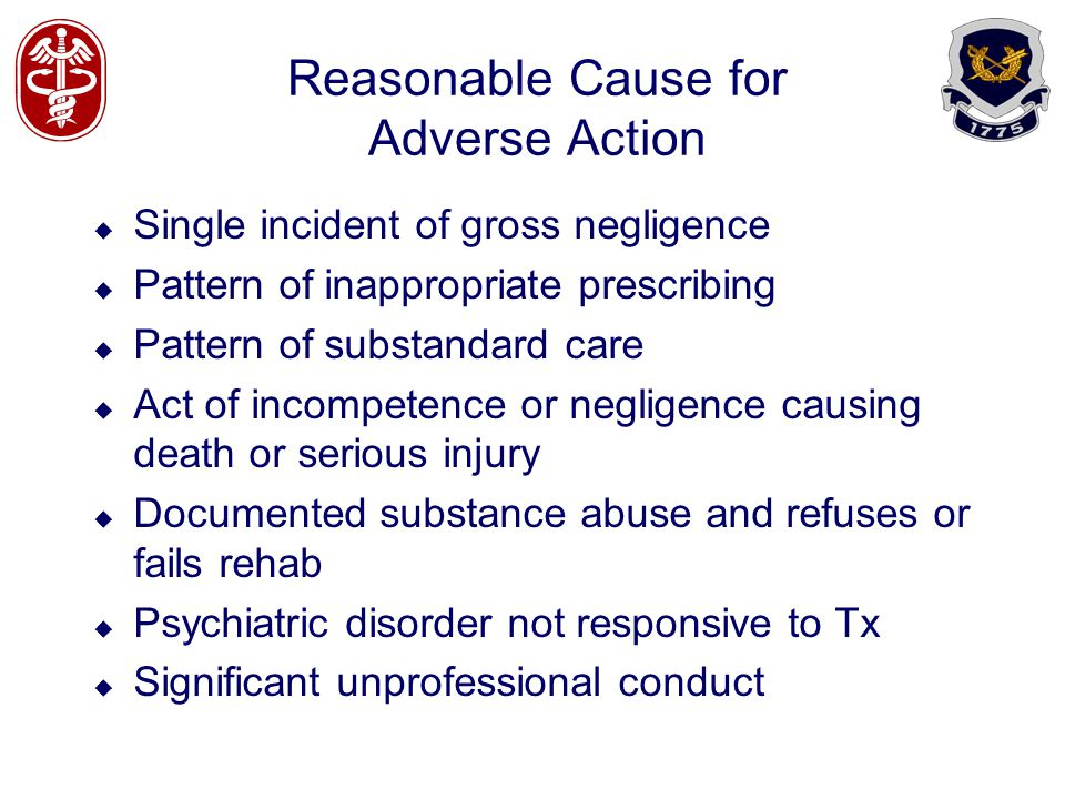Reasonable Cause for Adverse Action