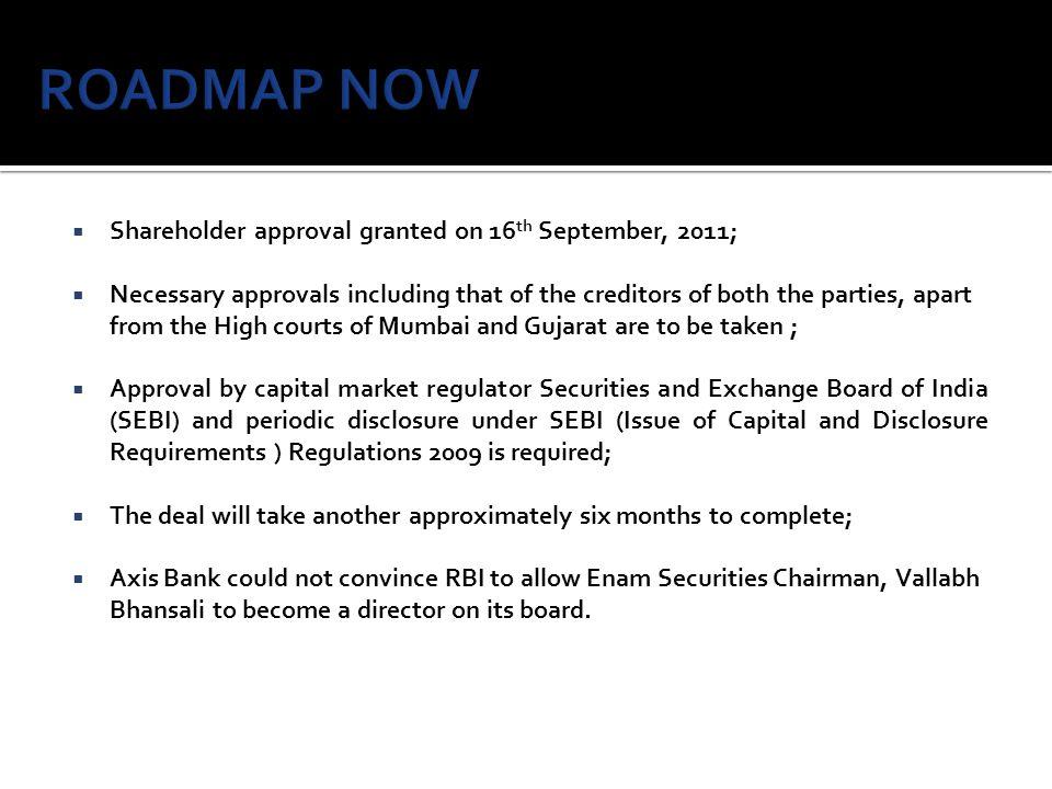 ROADMAP NOW Shareholder approval granted on 16th September, 2011;