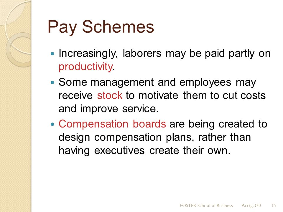 Pay Schemes Increasingly, laborers may be paid partly on productivity.