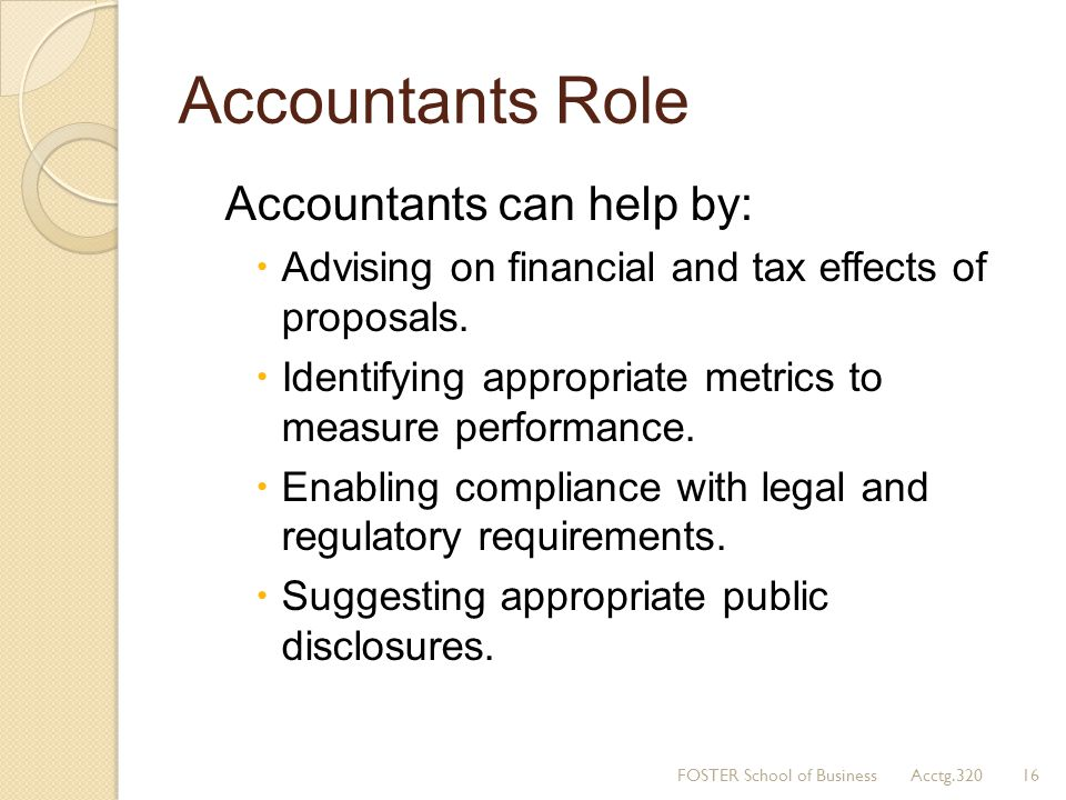 Accountants Role Accountants can help by:
