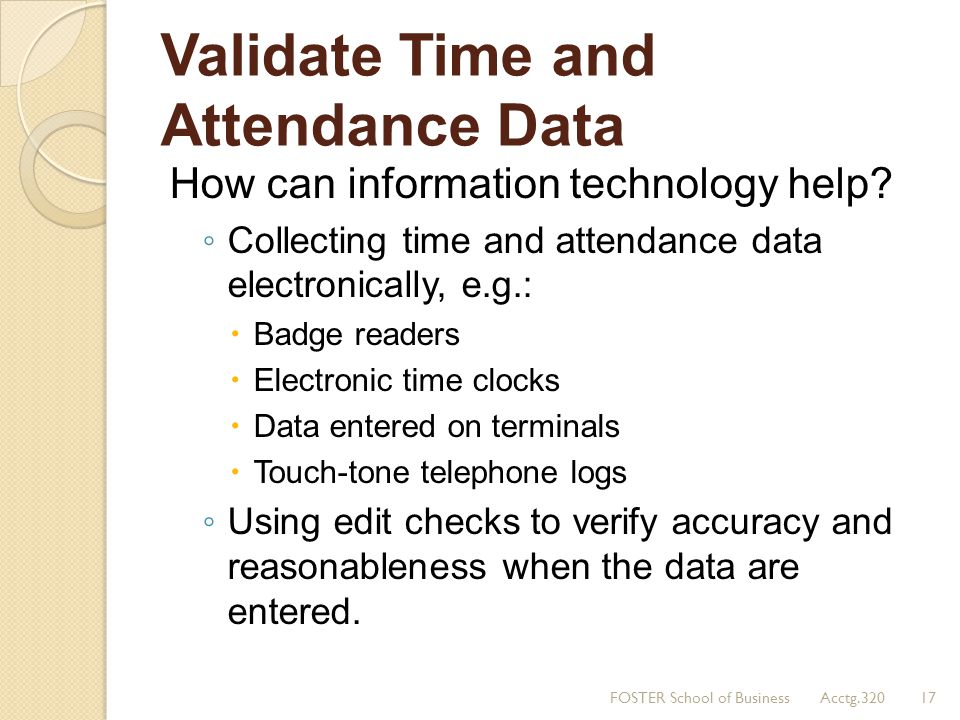 Validate Time and Attendance Data