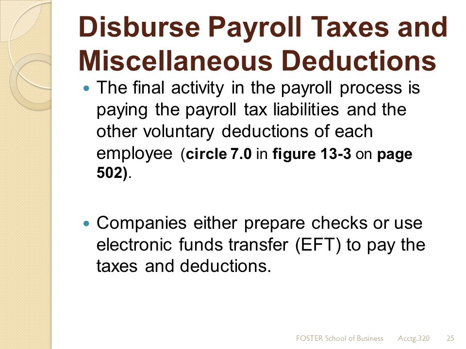 Disburse Payroll Taxes and Miscellaneous Deductions