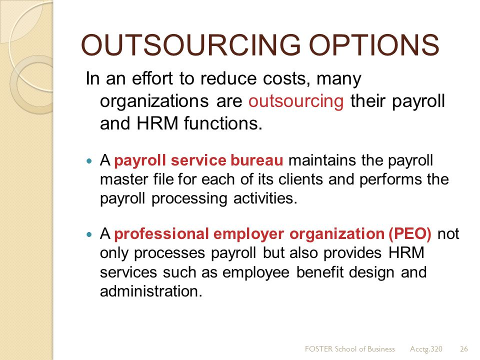 OUTSOURCING OPTIONS In an effort to reduce costs, many organizations are outsourcing their payroll and HRM functions.