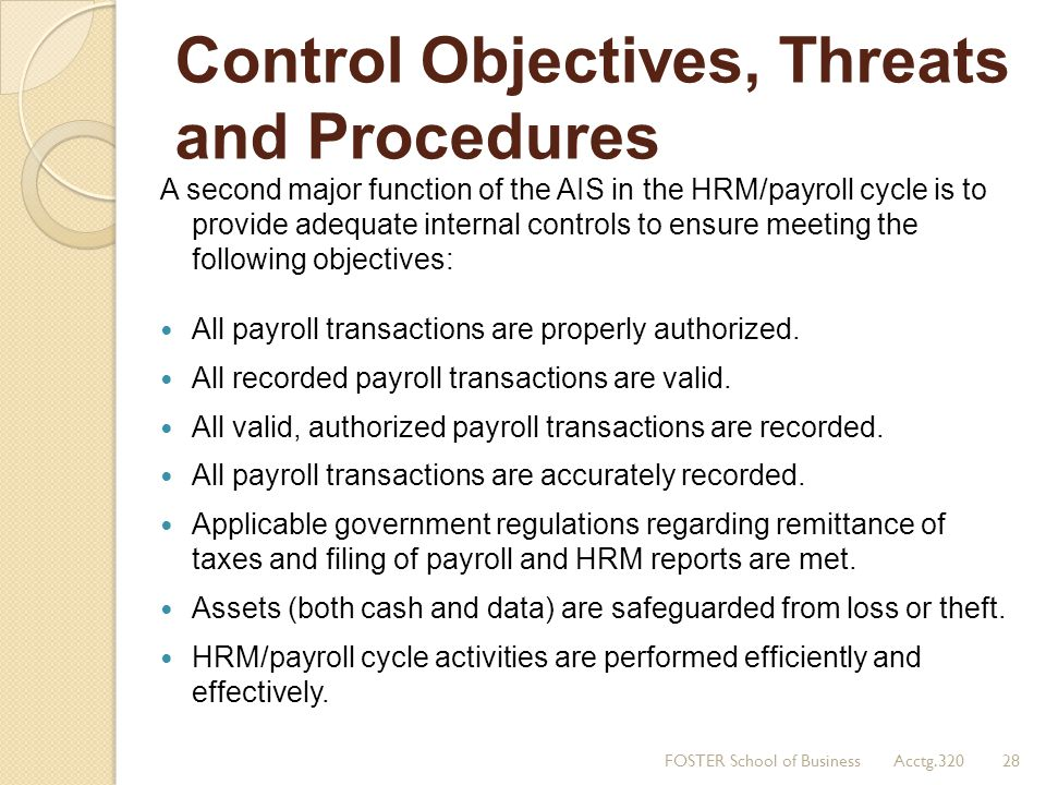 Control Objectives, Threats and Procedures