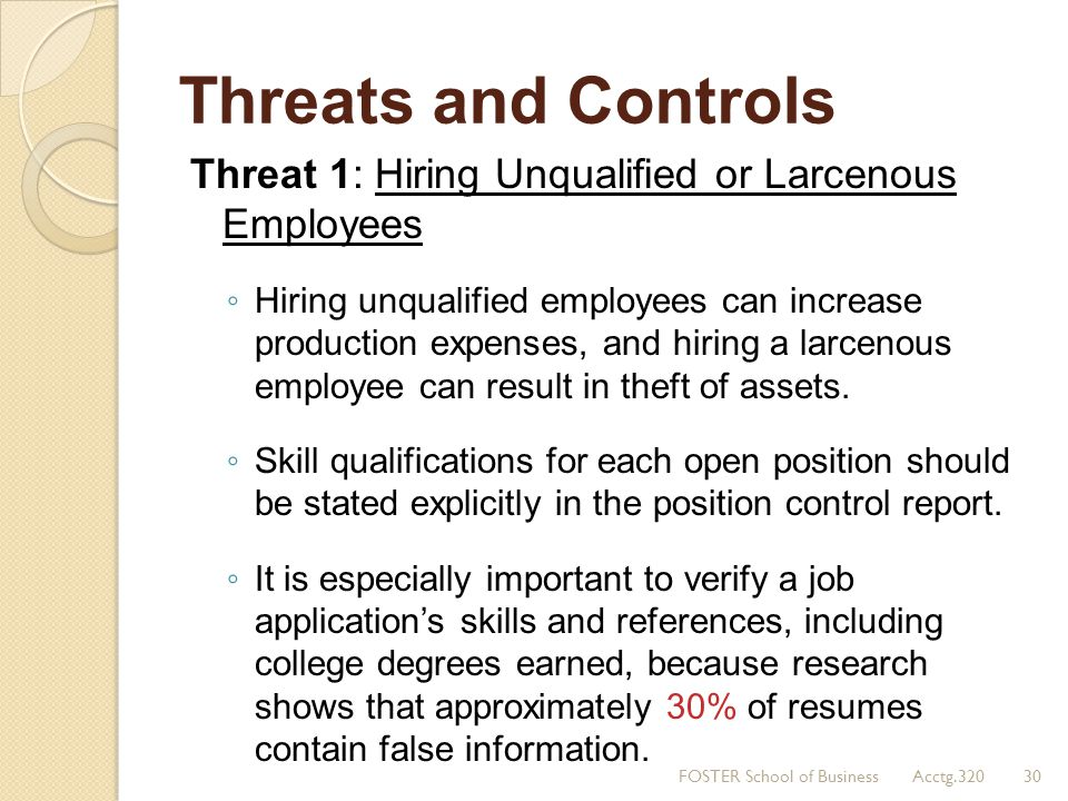 Threats and Controls Threat 1: Hiring Unqualified or Larcenous Employees.