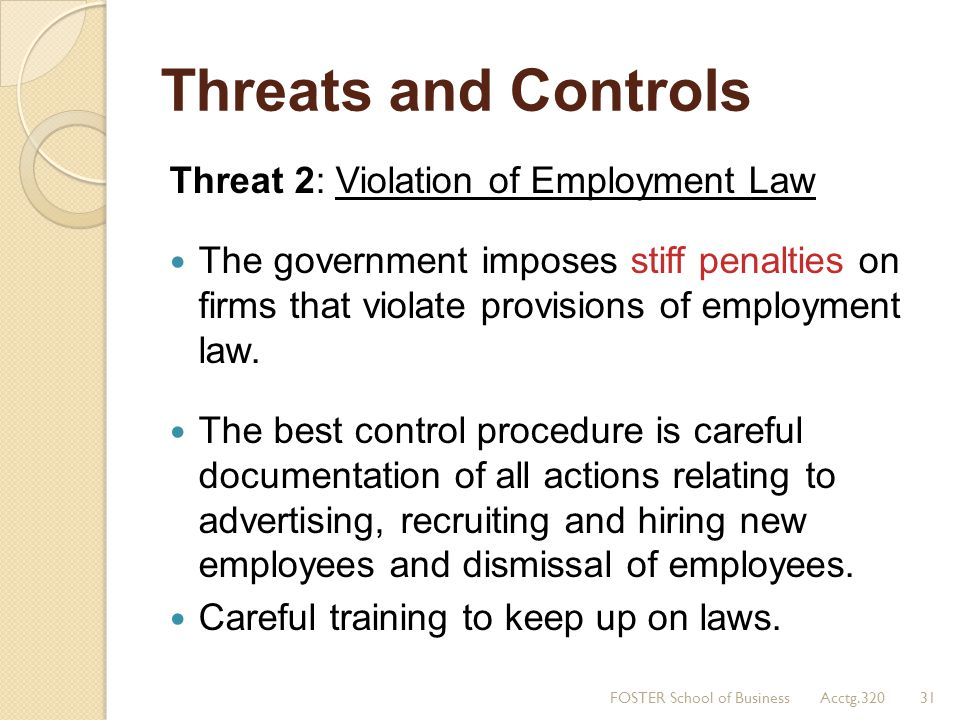 Threats and Controls Threat 2: Violation of Employment Law