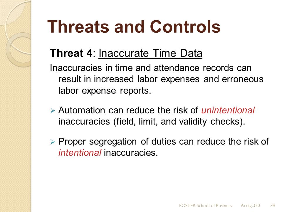 Threats and Controls Threat 4: Inaccurate Time Data