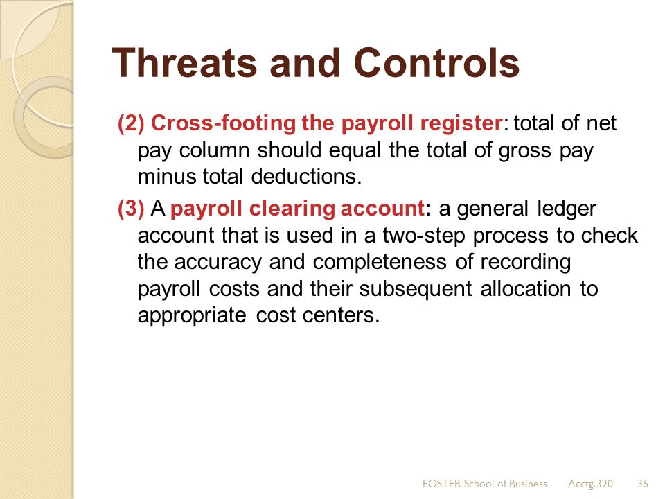 Threats and Controls (2) Cross-footing the payroll register: total of net pay column should equal the total of gross pay minus total deductions.