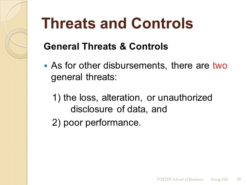 Threats and Controls General Threats & Controls