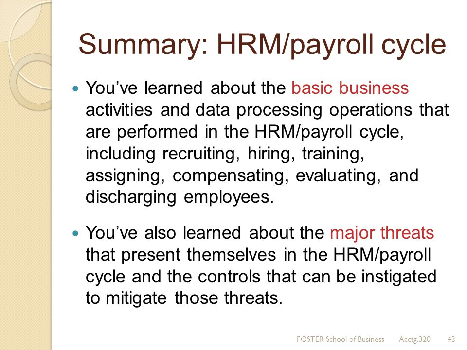 Summary: HRM/payroll cycle