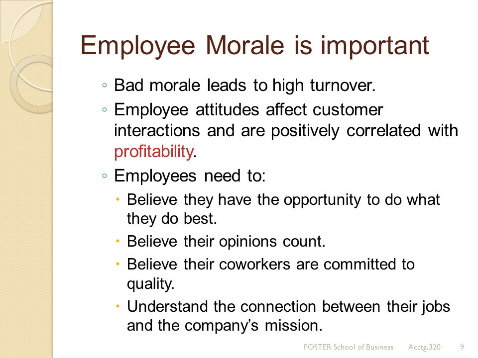 Employee Morale is important