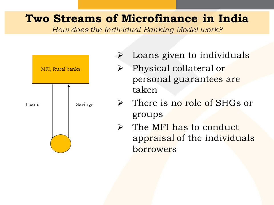 Two Streams of Microfinance in India How does the Individual Banking Model work