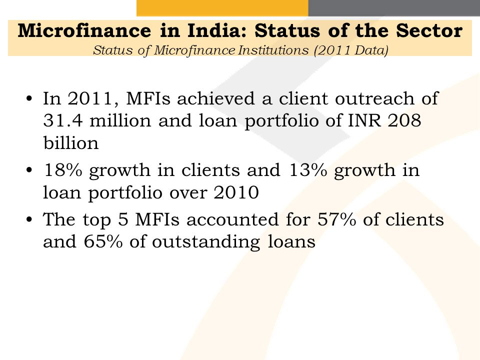 Microfinance in India: Status of the Sector Status of Microfinance Institutions (2011 Data)