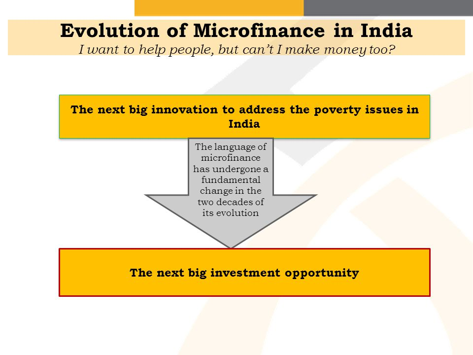 Evolution of Microfinance in India I want to help people, but can't I make money too