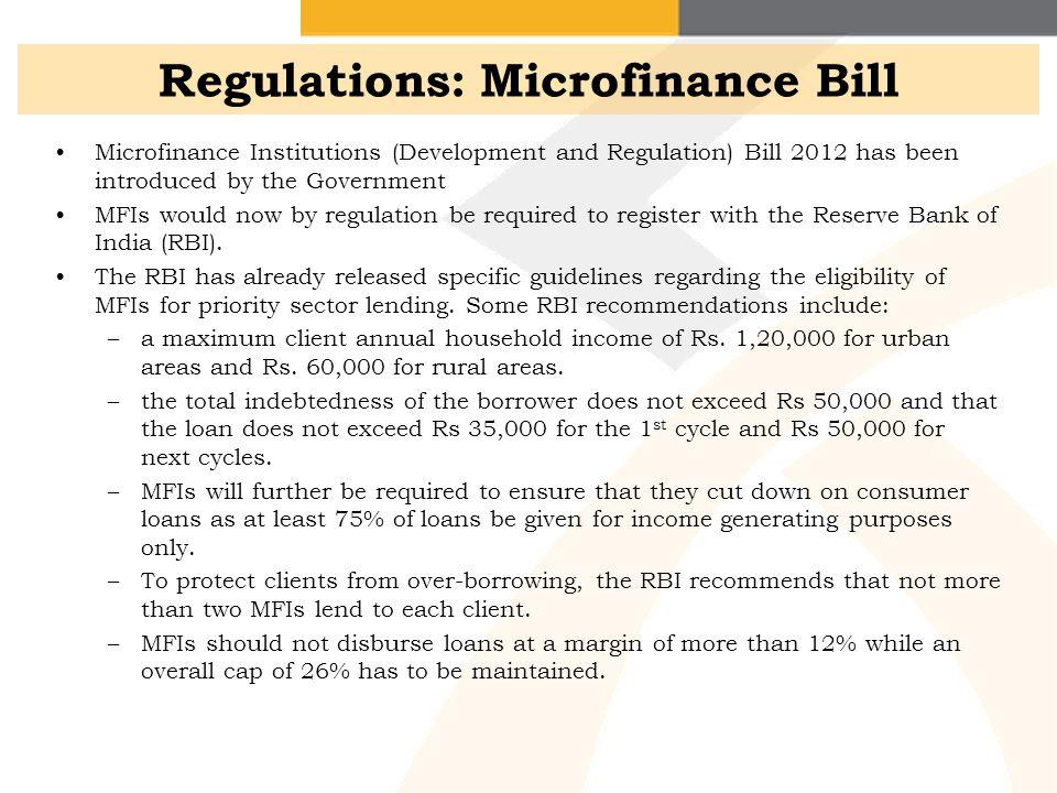 Regulations: Microfinance Bill