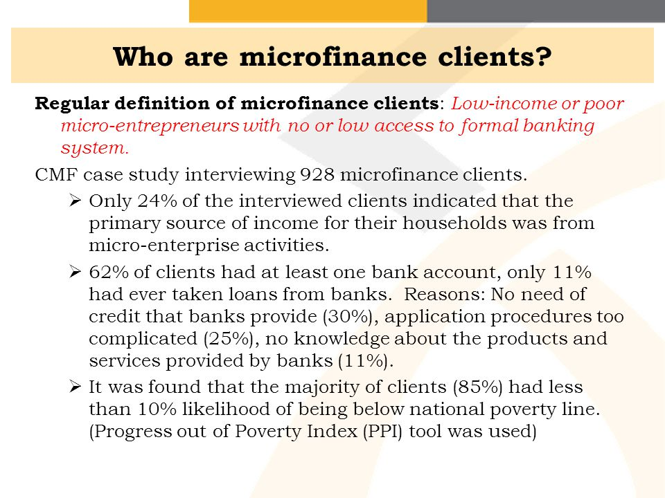 Who are microfinance clients