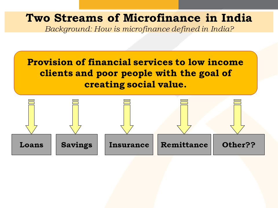 Two Streams of Microfinance in India Background: How is microfinance defined in India