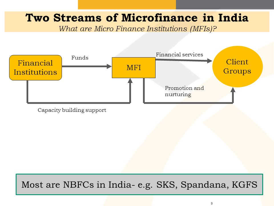 Two Streams of Microfinance in India What are Micro Finance Institutions (MFIs)