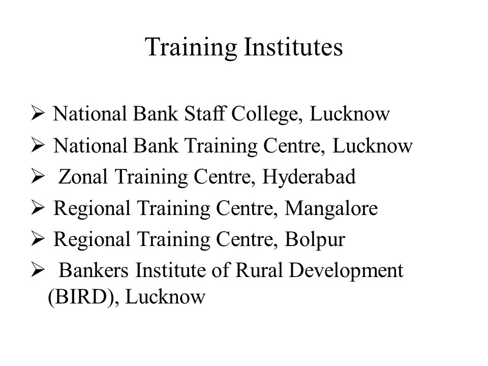 Training Institutes National Bank Staff College, Lucknow