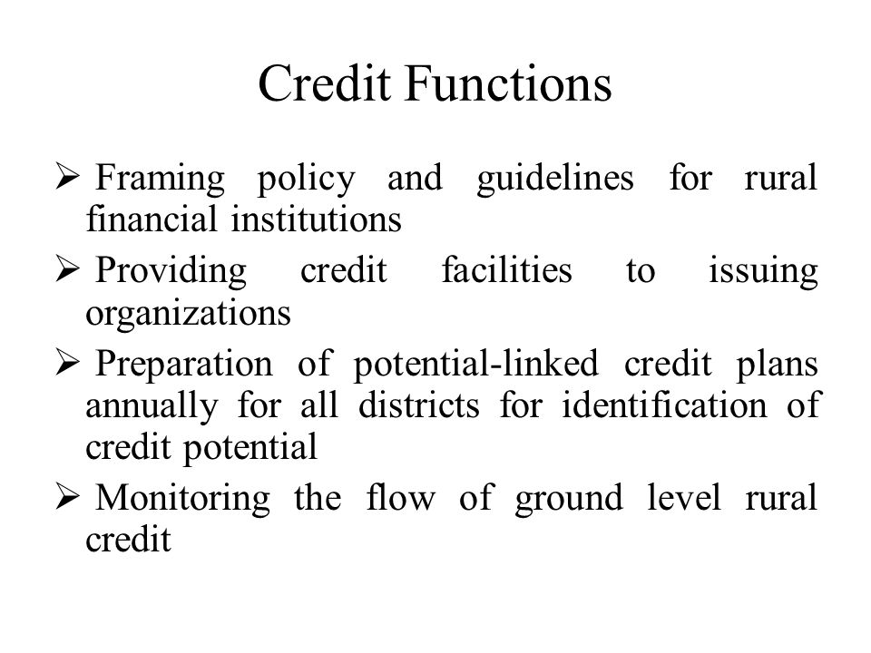 Credit Functions Framing policy and guidelines for rural financial institutions Providing credit facilities to issuing organizations