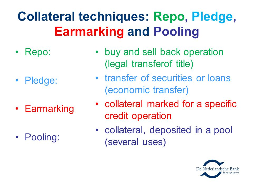 Collateral techniques: Repo, Pledge, Earmarking and Pooling