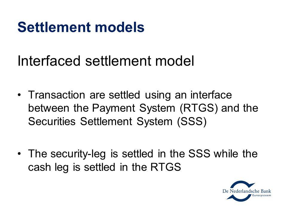 Interfaced settlement model