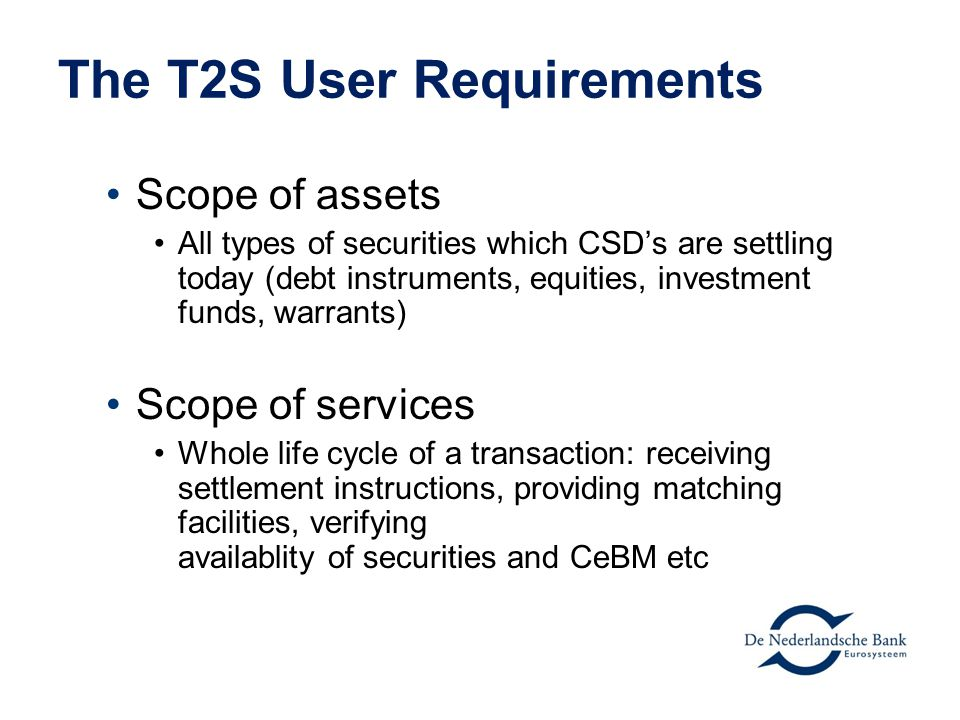 The T2S User Requirements
