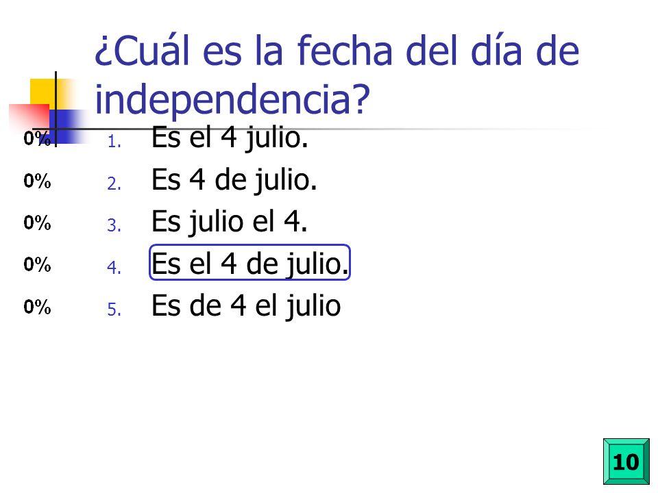 ¿Cuál es la fecha del día de independencia
