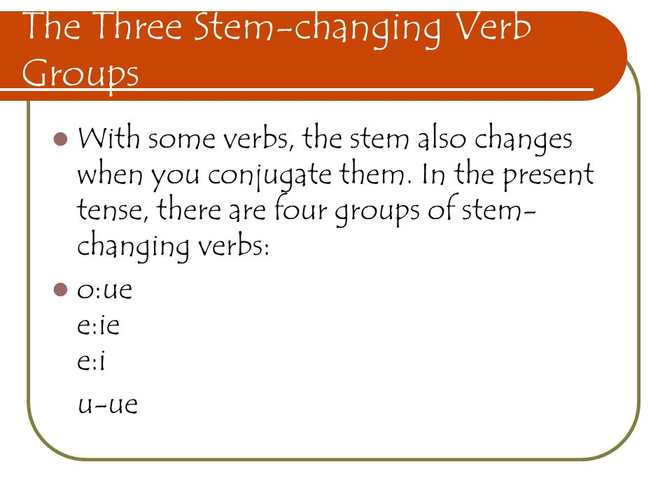The Three Stem-changing Verb Groups