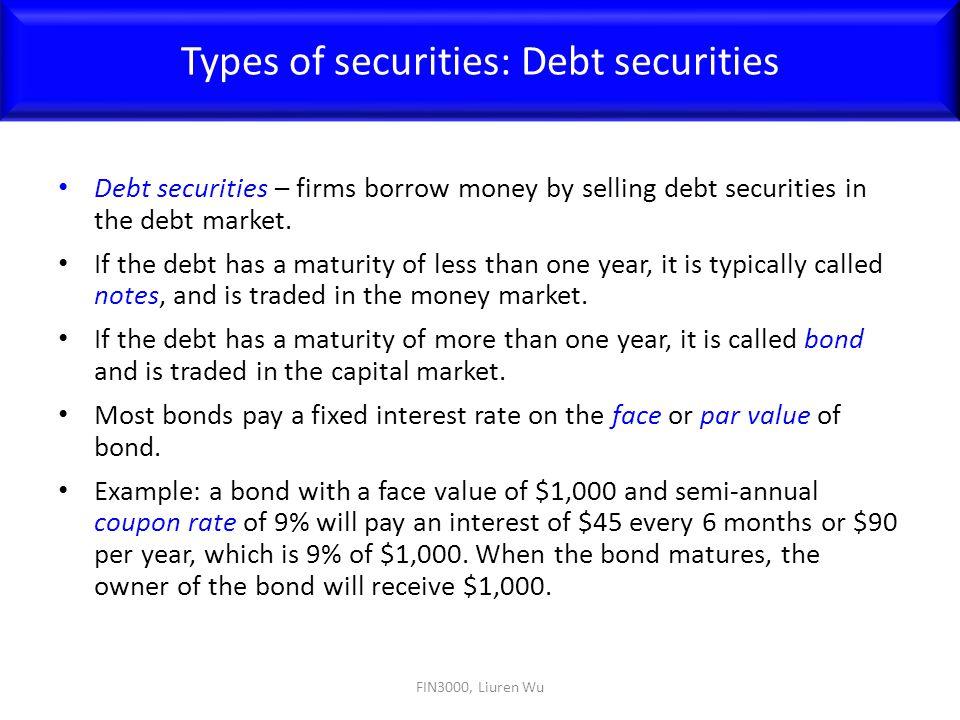 Types of securities: Debt securities