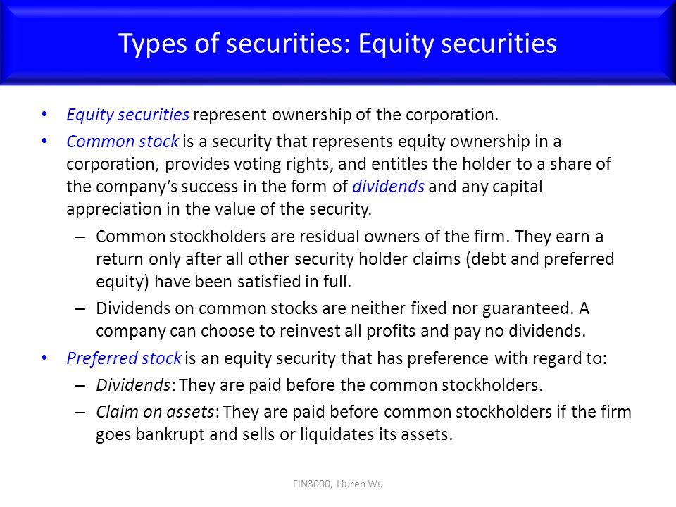 Types of securities: Equity securities