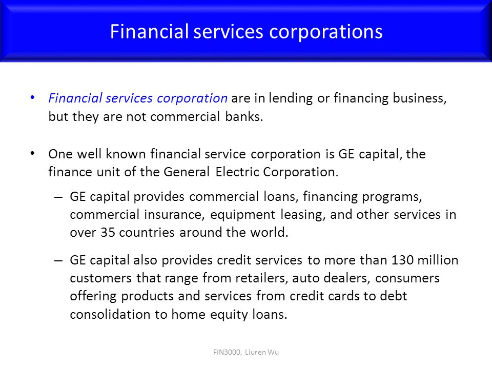 Financial services corporations