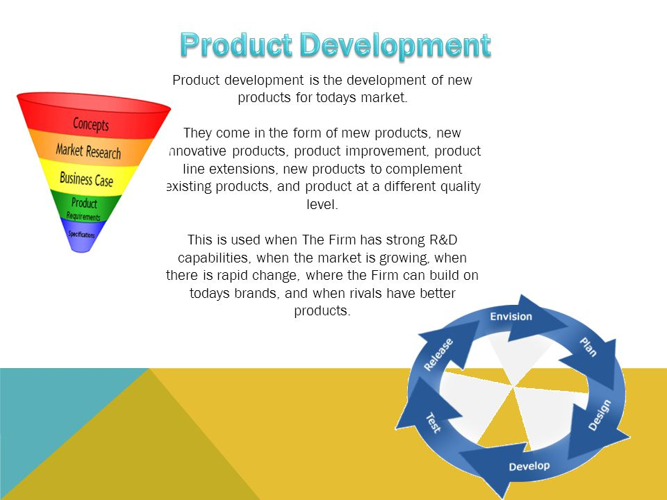 Product Development Product development is the development of new products for todays market.